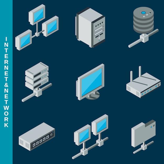 等尺性平らな3 dインターネットおよびネットワーク機器のアイコンを設定 Premiumベクター