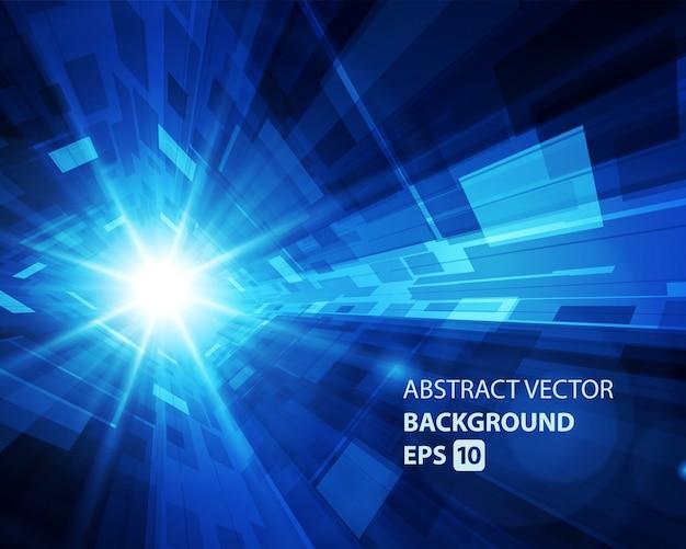 抽象的な背景バーチャルリアリティ3 d空間グリッド効果。 Premiumベクター