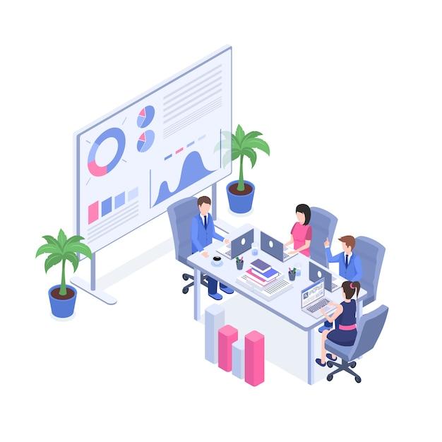 マネージャーおよびスーパーバイザー、会議室のオフィススタッフ3 dの漫画のキャラクター。 Premiumベクター