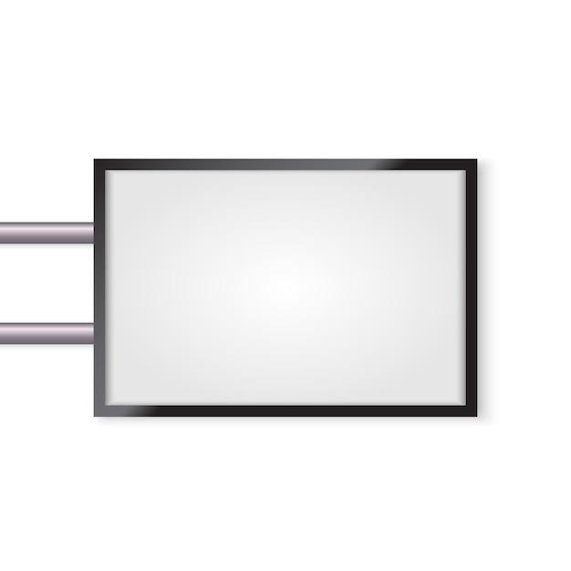 3 d看板分離モックアップ。設計のための空のスペースで照らされたライトボックス Premiumベクター