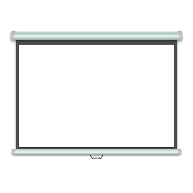 3 dリアルなプロジェクションスクリーン、プレゼンテーションホワイトボード。ベクトルイラスト Premiumベクター