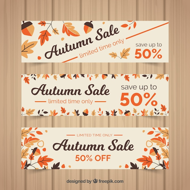 3 discount banners for autumn, flat style Free Vector