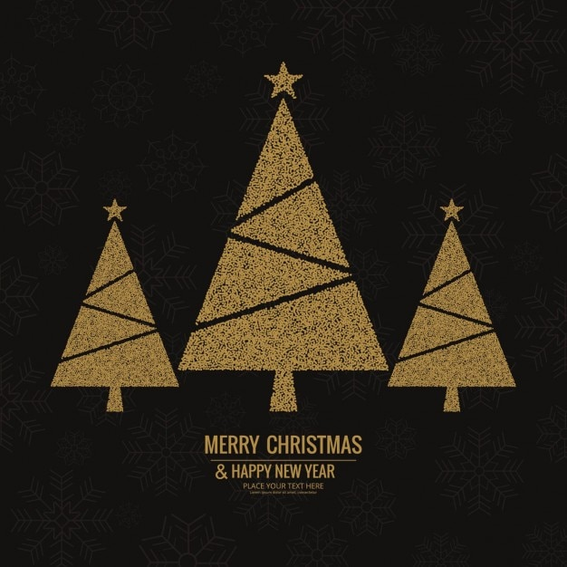 3 golden christmas trees on an elegant black background free vector - Golden Christmas 3