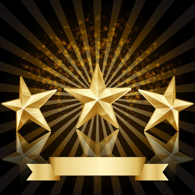 3 golden stars Free Vector
