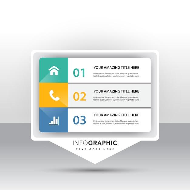 마케팅 아이콘 3 옵션 인포 그래픽 무료 벡터
