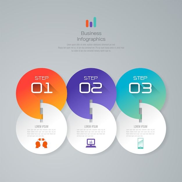 3 steps business infographic elements for the presentation Premium Vector