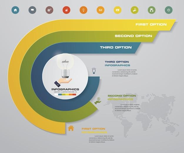 3 steps chart infographics elements. Premium Vector
