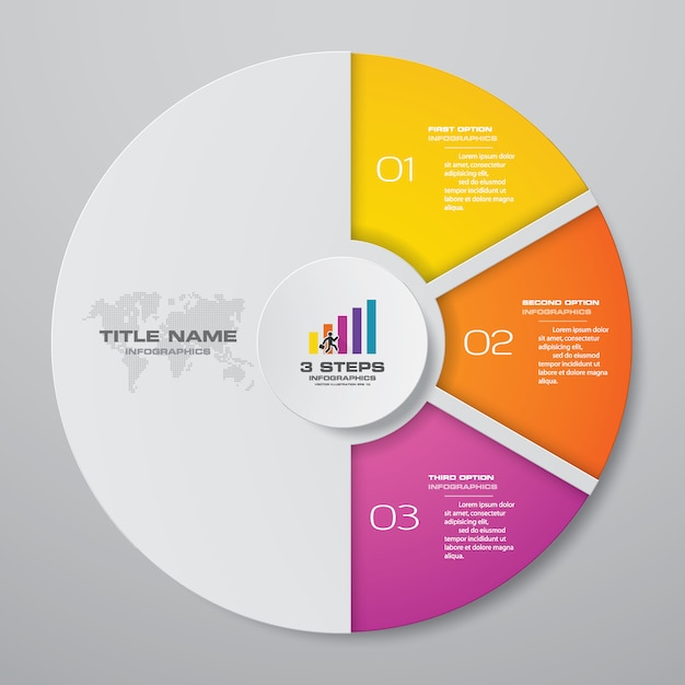 3 steps cycle chart infographics elements. Premium Vector