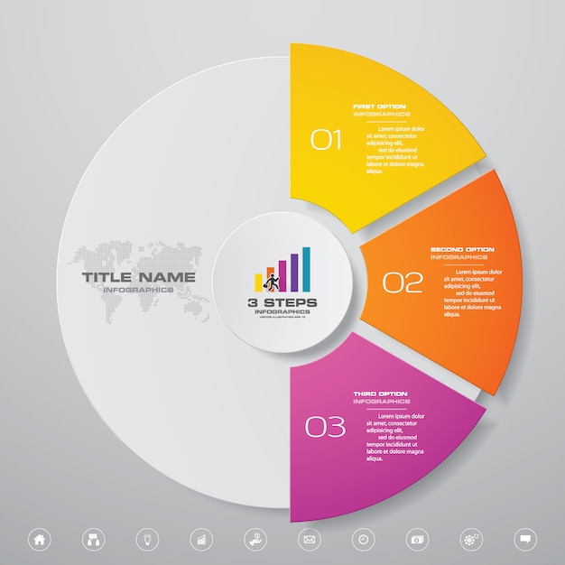 3 steps cycle chart infographics elements Premium Vector