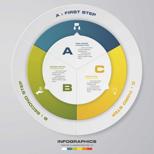 3 steps infographic element for presentation Premium Vector