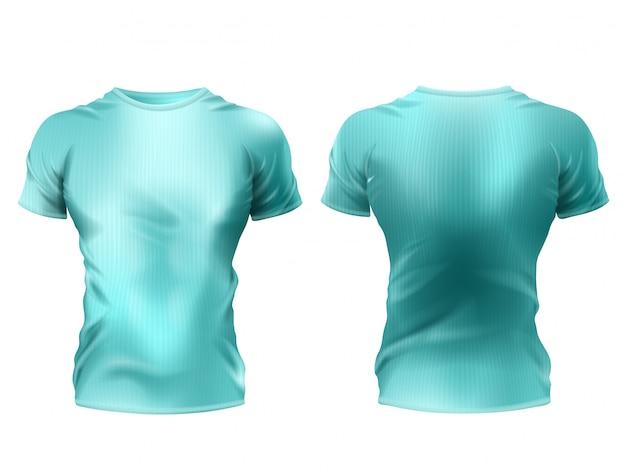3つの現実的な男性のtシャツ模型、青いシャツ、白い背景に短い袖 無料ベクター