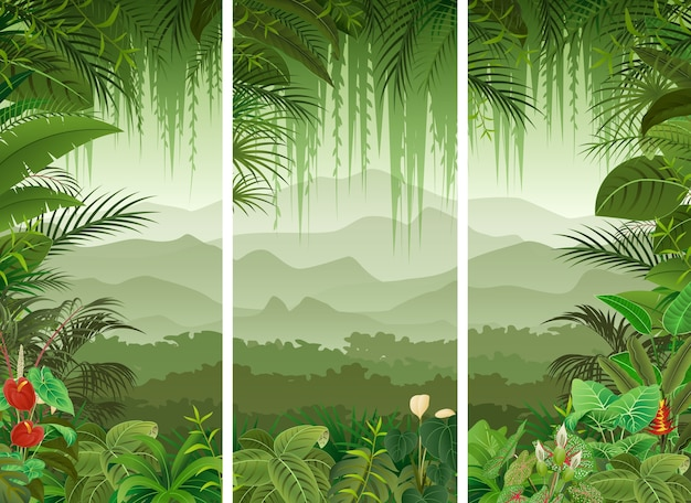 3 vertical banners set of tropical forest background Premium Vector
