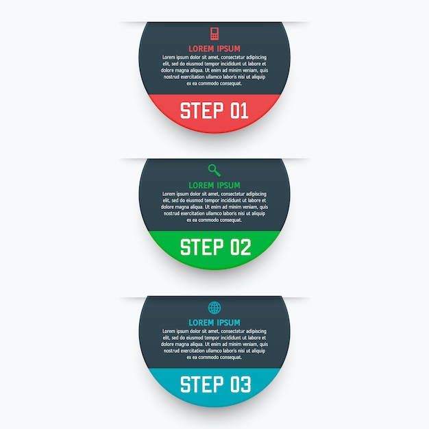 マテリアルスタイルの3つのオプションを持つインフォグラフィックテンプレート。チャート、番号付きバナー、プレゼンテーション、グラフ、レポート、webなどとして使用できます。 Premiumベクター