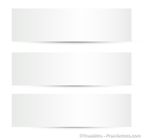 3 white banners Free Vector