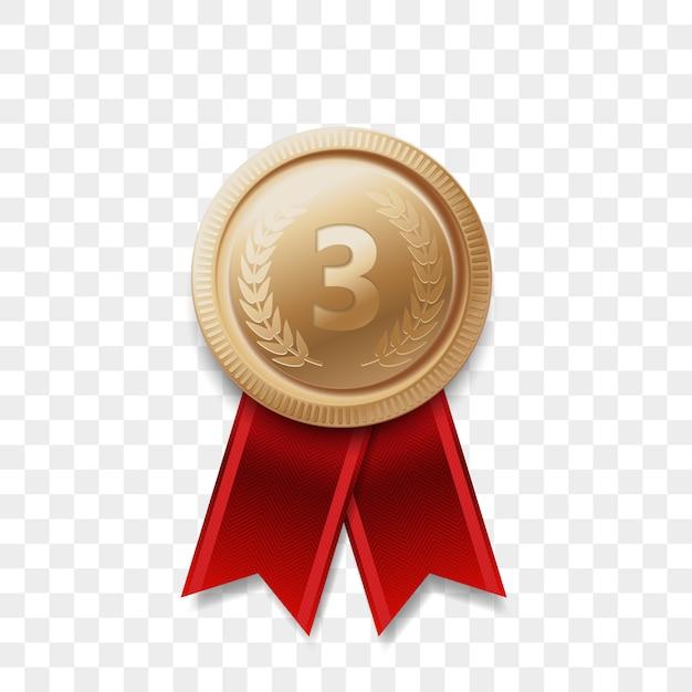고립 된 리본 현실적인 아이콘 3 우승자 동메달 수상. 3 위 또는 3 위 또는 최고의 승리 챔피언 상 수상 동메달 황금 빛나는 메달 배지 프리미엄 벡터