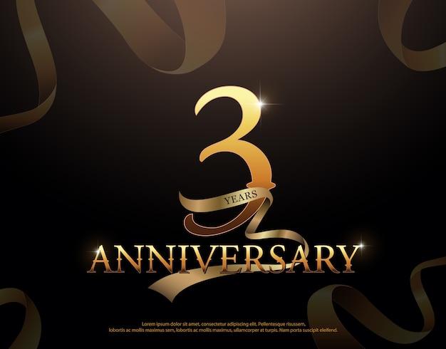 3 year anniversary celebration Premium Vector