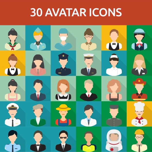 30 avatar icons Free Vector