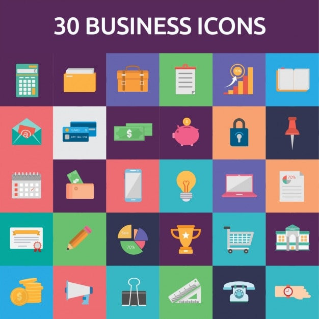 30 business icons Vector | Free Download