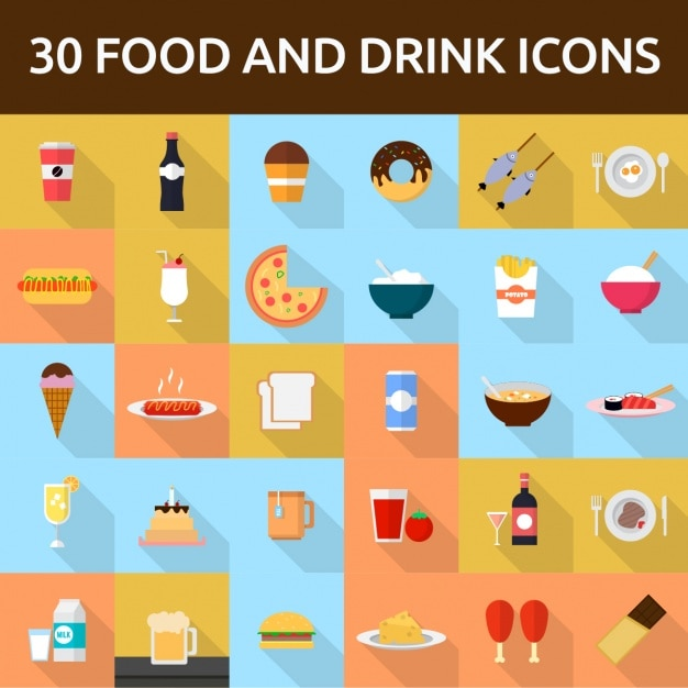 30 food and drink icons Free Vector
