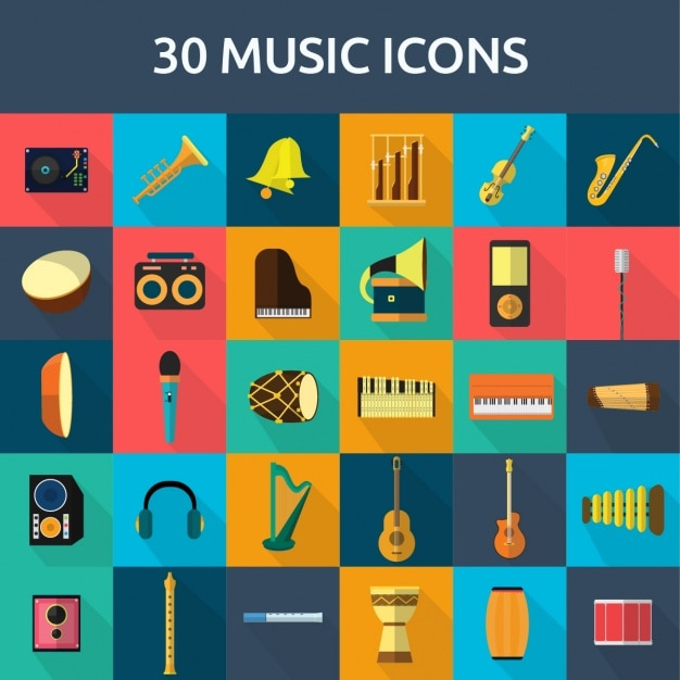 30 music icons Free Vector
