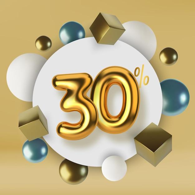 3dゴールドテキストで作られた30オフ割引プロモーションセールリアルな球体と立方体 Premiumベクター