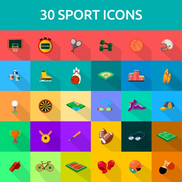 30 Sports Icons Vector Free Download