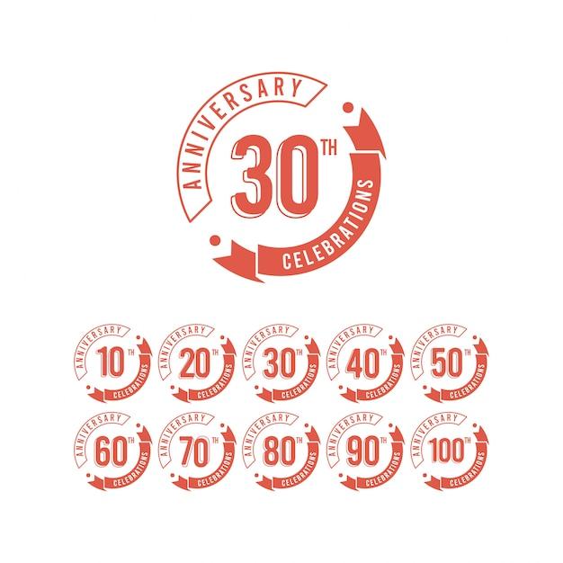 30年周年記念セットエレガントなテンプレートデザインイラスト Premiumベクター