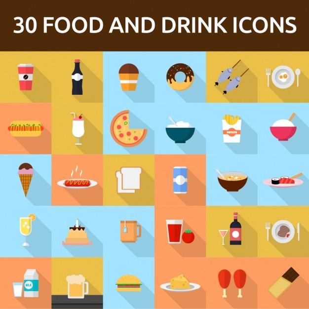 30 продуктов питания и напитков иконки Бесплатные векторы