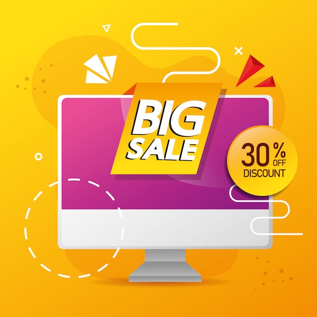 コンピューターの大きな販売レタリングと30%割引の商業バナー 無料ベクター