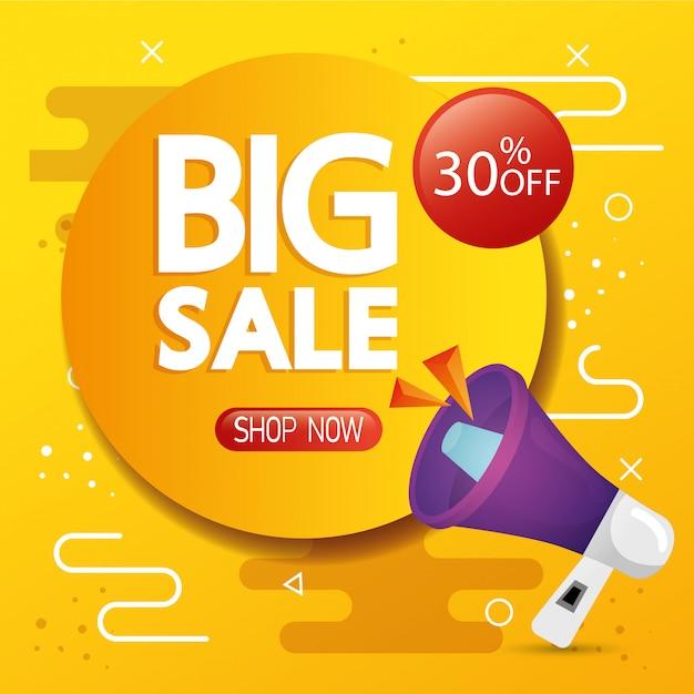 大きな販売レタリングと30%割引の商業バナー 無料ベクター