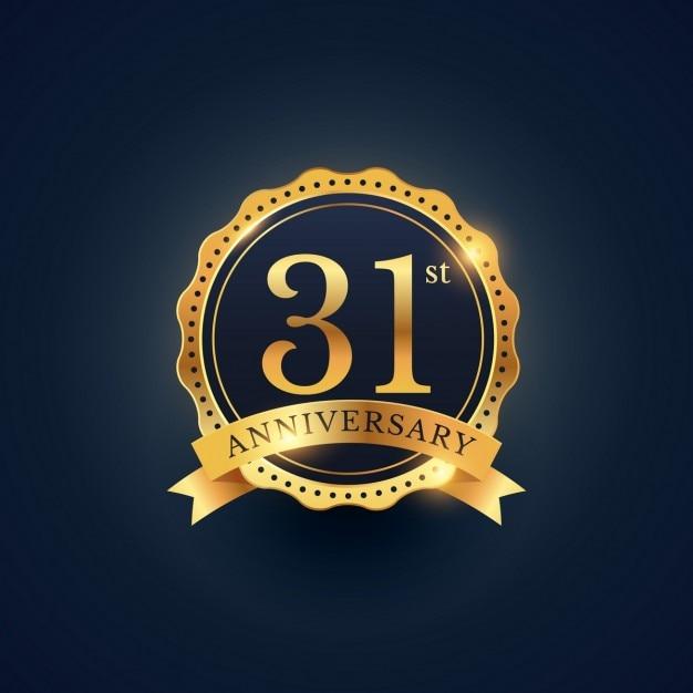 黄金色の31周年のお祝いバッジのラベル 無料ベクター