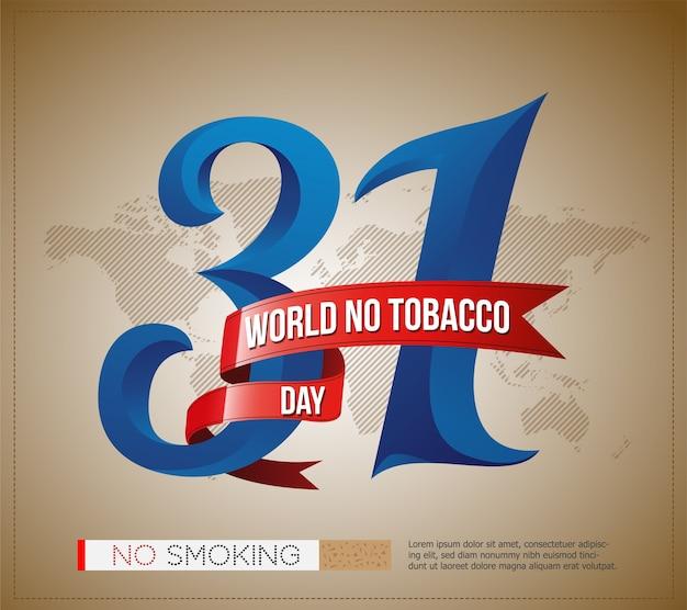 31世界タバコデーのロゴ、ポスター、スタイリッシュなテキストと世界地図のバナー Premiumベクター