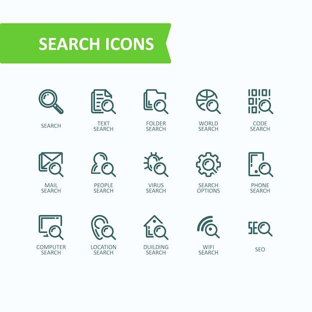 分析情報の検索のベクトルイラスト細線アイコンのセット 32x32
