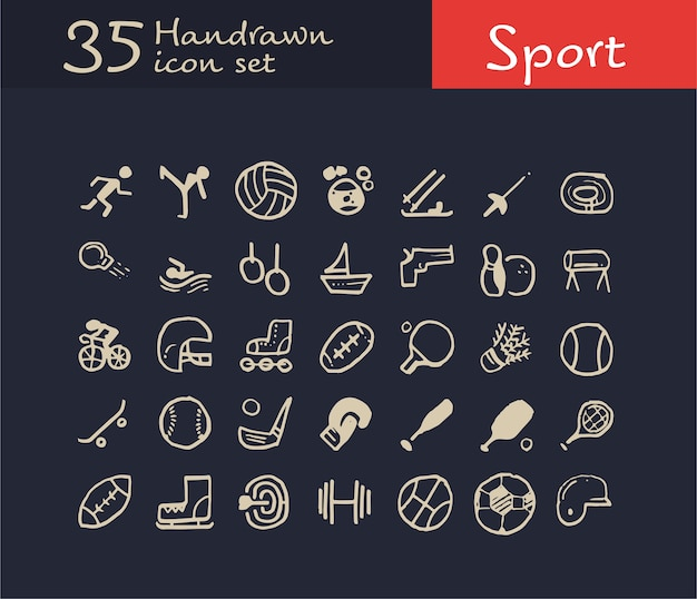 35 ручной обращается значок спорта. значок каракули спорт Premium векторы