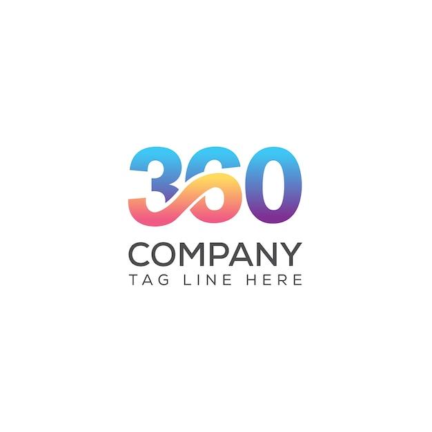 360 media typography vector logo templete Premium Vector