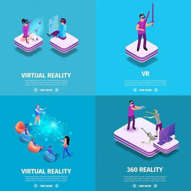 360 virtual reality square banners set. gaming. Premium Vector