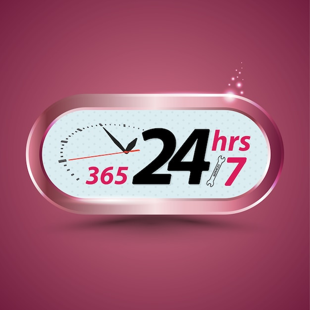 365 24hrs /7 open customer service with clock Premium Vector