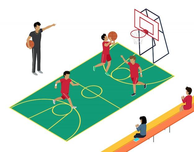 3人のプレーヤーとコーチによるバスケットボールのトレーニング。 Premiumベクター