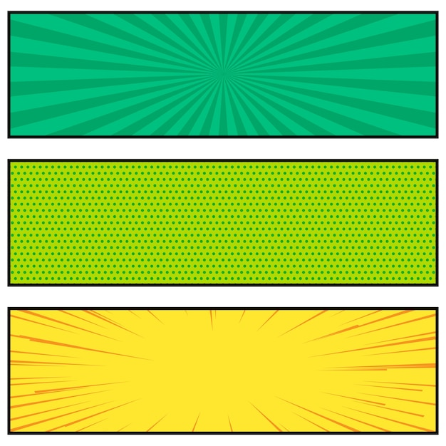 3つの明るい漫画本のスタイルのバナーのデザイン 無料ベクター