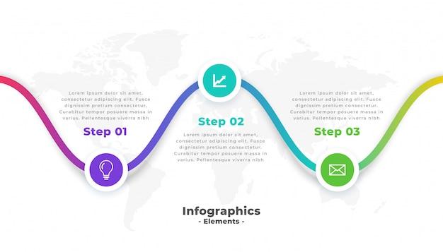 3つのステップモダンなプロインフォグラフィックテンプレート 無料ベクター