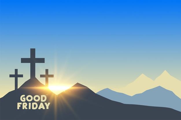 日の出グッドフライデーの背景を持つ3つのクロスシンボル 無料ベクター
