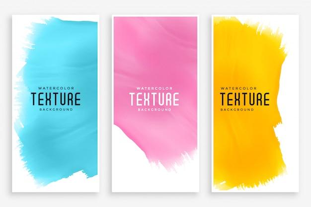 3つの色で設定された抽象的な水彩バナー 無料ベクター