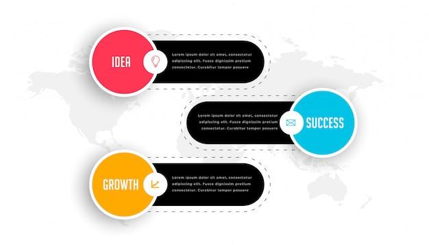 モダンな3つのステップビジネスプロフェッショナルインフォグラフィックテンプレート 無料ベクター