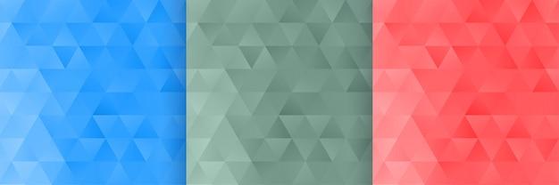 3つの三角形の形状パターン背景セット 無料ベクター