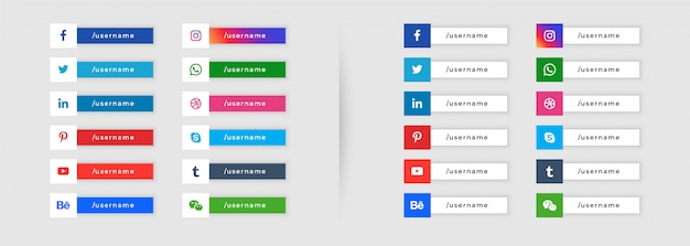 ソーシャルメディアボタンスタイルの下3番目のデザイン 無料ベクター
