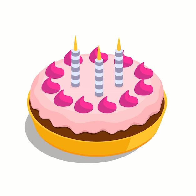 3つの青い非常に熱い蝋燭と誕生日の大きなケーキ Premiumベクター