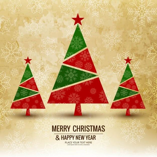 3クリスマスツリーと背景 無料ベクター