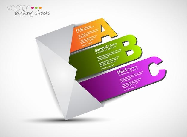 Элементы ранжирования в стиле бумаги с эффектом настоящей бумаги, которые можно использовать для отображения 3 различных параметров. Premium векторы