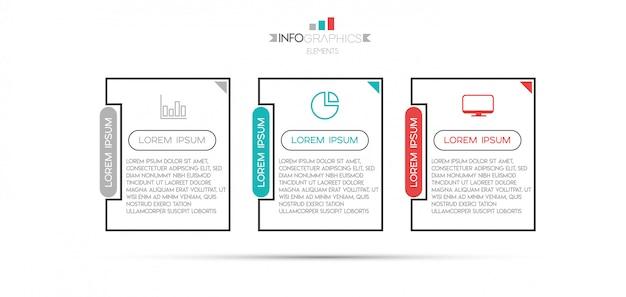 Инфографики элемент с иконками и 3 варианта или шаги. Premium векторы