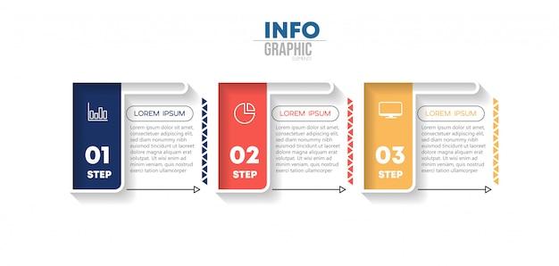 Инфографический элемент с иконками и 3 вариантами или шагами Premium векторы